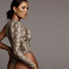 Load image into Gallery viewer, Off Shoulder Snakeskin Body Suit