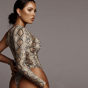 Off Shoulder Snakeskin Body Suit