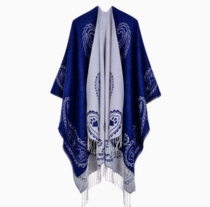 White/Blue Reversible Poncho