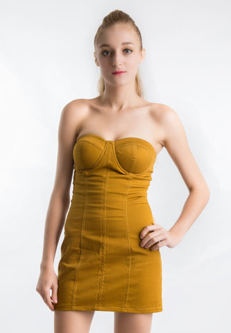 Body Fitted Tube Dress (Mustard) - Vodelle.com