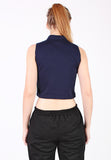 High Neck Sleeveless Top (Dark Blue) - Vodelle.com