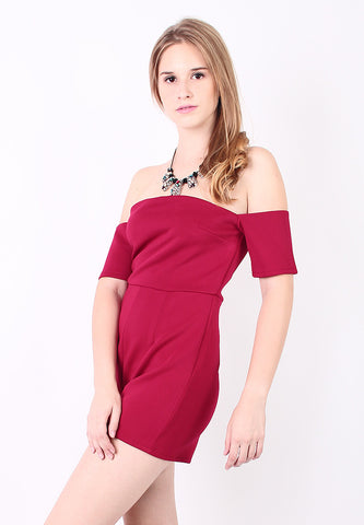 Off Shoulder Jumpsuit (Red) - Vodelle.com