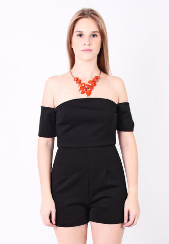 Off Shoulder Jumpsuit (Black) - Vodelle.com