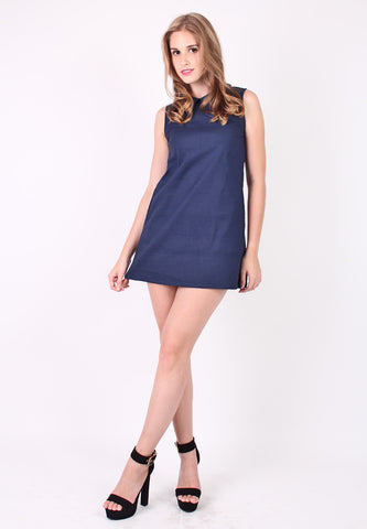 Collar Basic Dress (Blue) - Vodelle.com