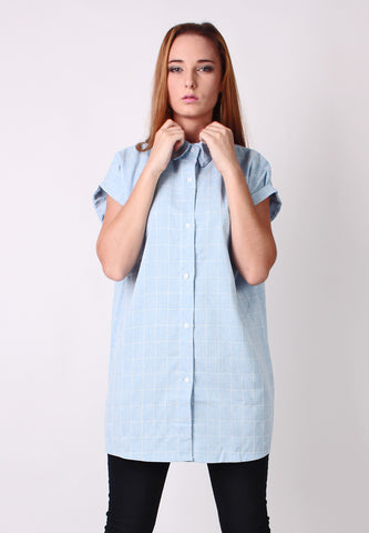 Checker Oversized Shirt (Light Blue) - Vodelle.com