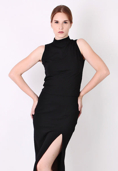 High Neck Sleeveless Top (Black) - Vodelle.com