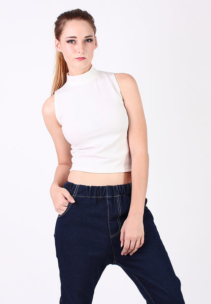 High Neck Sleeveless Top (White) - Vodelle.com