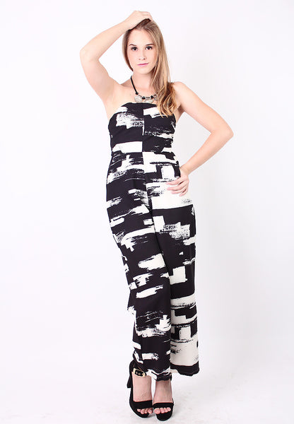 Printed Tube Jumpsuit (Black) - Vodelle.com