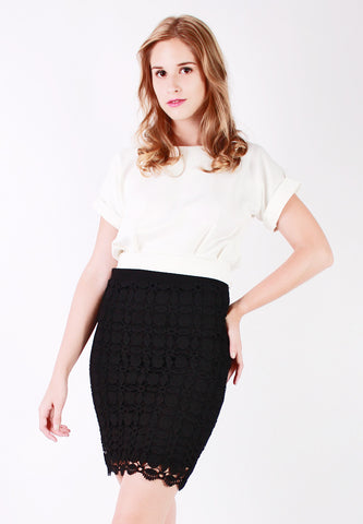 Lace Pencil Skirt (Black) - Vodelle.com