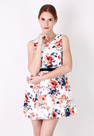 Flower Skater Dress (Orange) - Vodelle.com