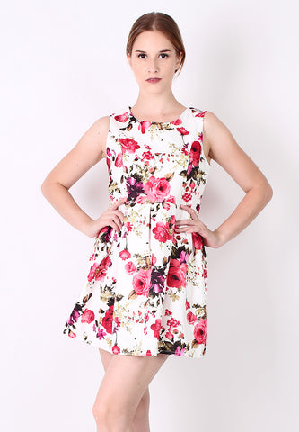 Flower Skater Dress (Red) - Vodelle.com
