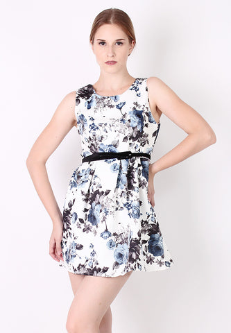 Flower Skater Dress (Blue) - Vodelle.com