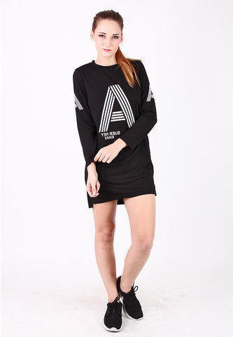 Long Style Long Sleeve Top (Black) - Vodelle.com