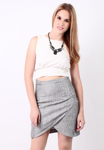 Curved Fit Skirt (Grey) - Vodelle.com