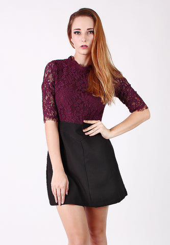 Long Sleeve One Piece Lace Dress (Maroon) - Vodelle.com