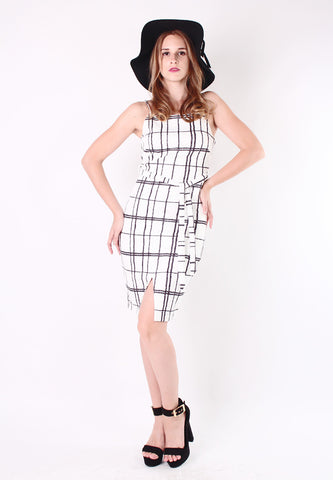 Bodycon Checker Dress (White) - Vodelle.com