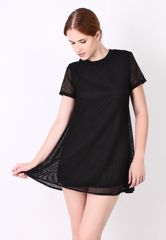 Double Layer Web Basic Top (Black) - Vodelle.com
