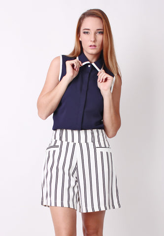 Collar Sleeveless Shirt (Dark Blue) - Vodelle.com