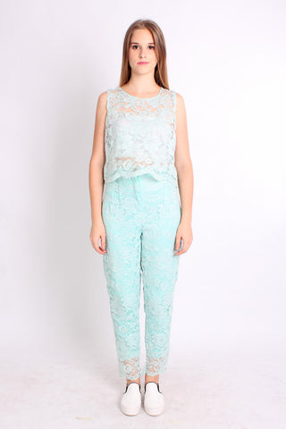 Lace Transparent Style Long Pant Two Piece Set (Sky Blue) - Vodelle.com