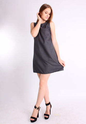 A Line Retro Fashion Dress (Grey) - Vodelle.com