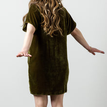 Load image into Gallery viewer, Silk Velvet Raglan Tee Dress