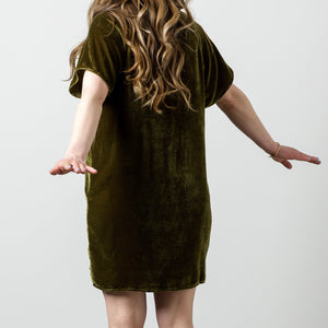 Silk Velvet Raglan Tee Dress
