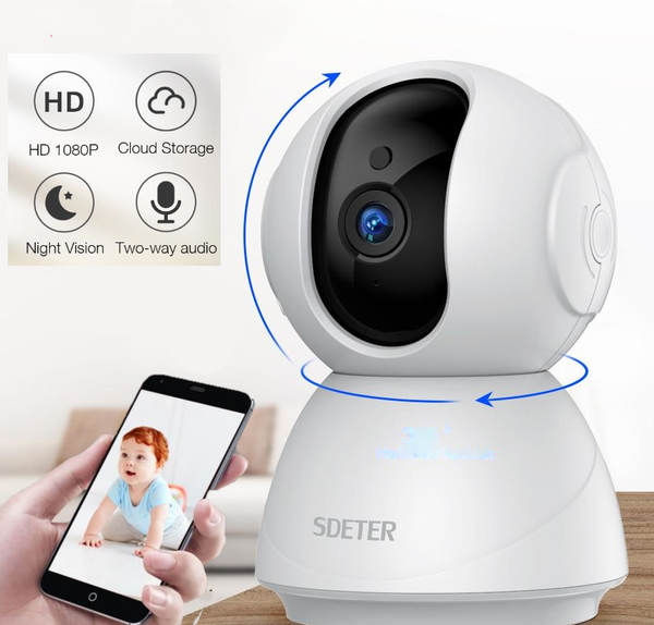 HD 1080P Baby And Pet Video Monitor Wifi Security Camera With Night Vision, Motion Detect, Two Way Audio