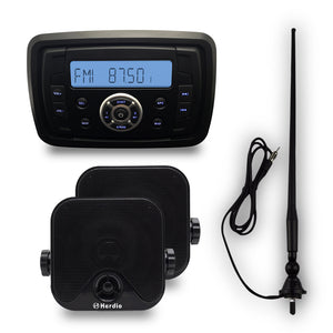 12V Marine  FM/AM Boat Bluetooth Radio Stereo+4 inch Boat speakers+fm/am antenna