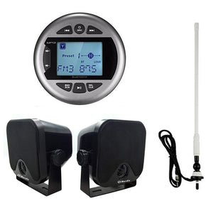 "Marine UTV Radio Bluetooth Stereo Receiver+4"" Boat Box Speakers+FM AM Aerial"