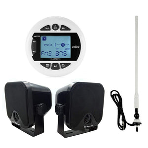 "Boat Bluetooth Marine Stereo Audio Receiver+4""Box Speaker+Flexible FM AM Antenna"