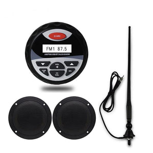 Herdio Marine Boat Car Bluetooth AM/FM Radio +4inch white Speakers + antenna