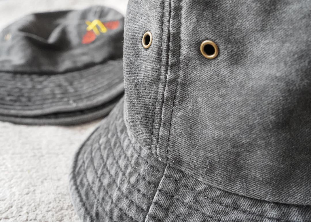mcasa | washed-denim bucket hat - achoo international
