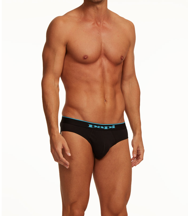 3-Pack Cotton Stretch Briefs (Black/Blue)