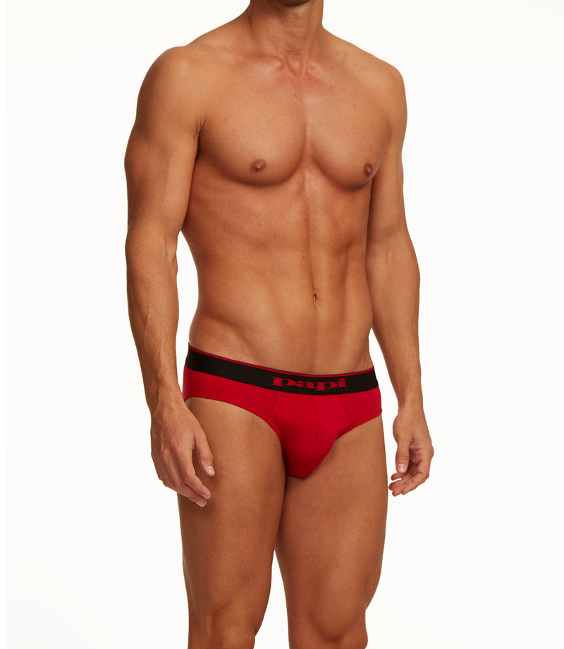 3-Pack Cotton Stretch Briefs (Black/Red)