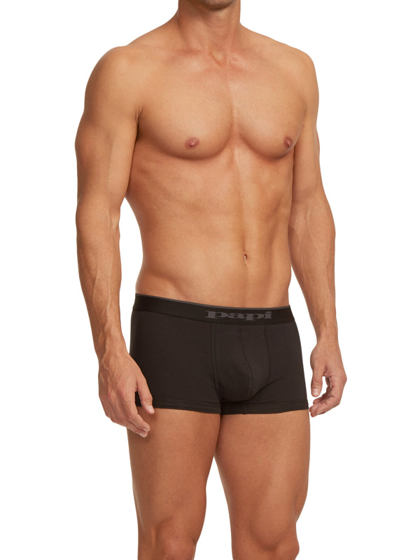 3-Pack Cotton Stretch Solid Trunks (Black)