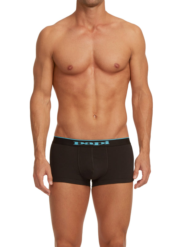 3-Pack Cotton Stretch Solid Trunks (Black/Blue)