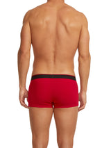3-Pack Cotton Stretch Solid/Stripe Trunks (Red/Black)