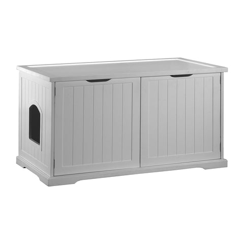 Cat Washroom Bench In White Litter Box Cover Pet Possibilities