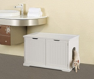 Cat Washroom Bench in White Litter Box Cover - Pet Possibilities - 1