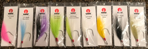 Ron's Striper Candy Fish Hooks VMC 9171 Siwash  with a Bucktail