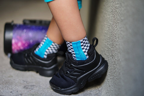 Bright Blue Check YaSelf Socks - Sweet Reasons