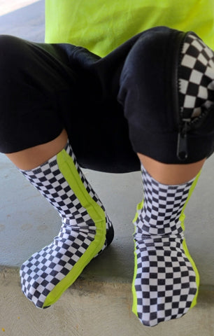 Neon Yellow Check YaSelf Socks - Sweet Reasons