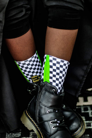 Neon Green Check YaSelf Socks - Sweet Reasons