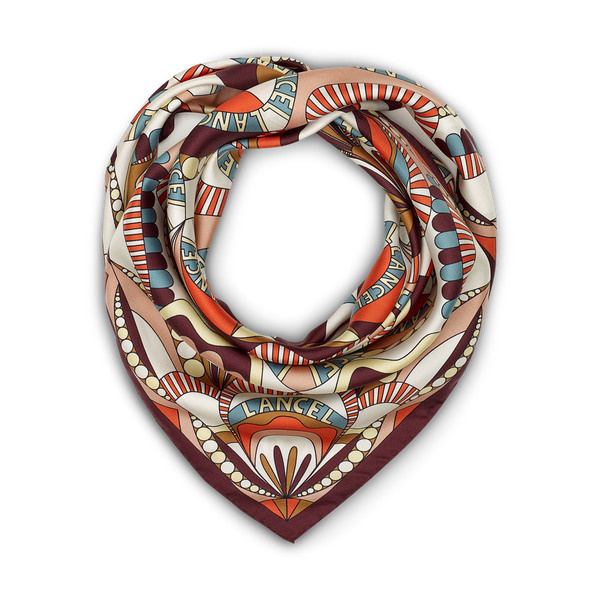 90X90 Floral Pattern Scarf - Cassis/Sunset Pink/Papaya