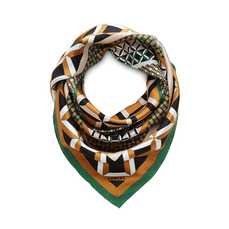 90X90 Graphic Duo Pat Scarf - Jungle Green/Cloud/Camel