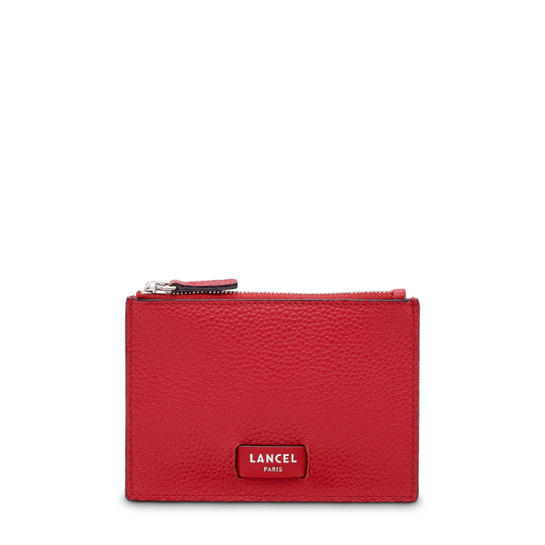 L Zip Card Holder - Red Lancel
