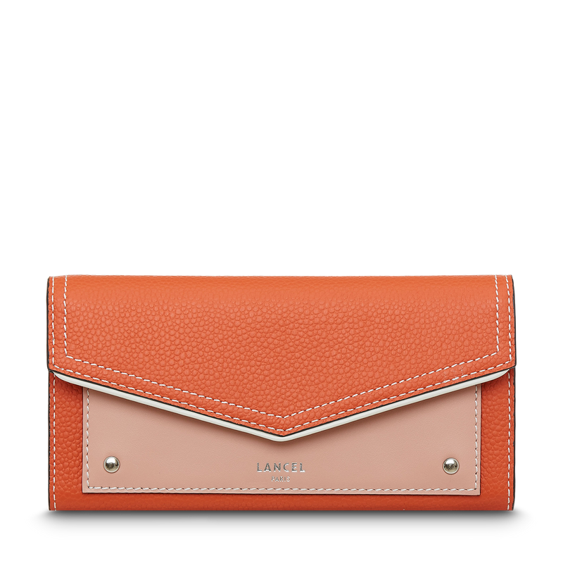 Slim Flap Wallet - Papaya/Sunset Pink