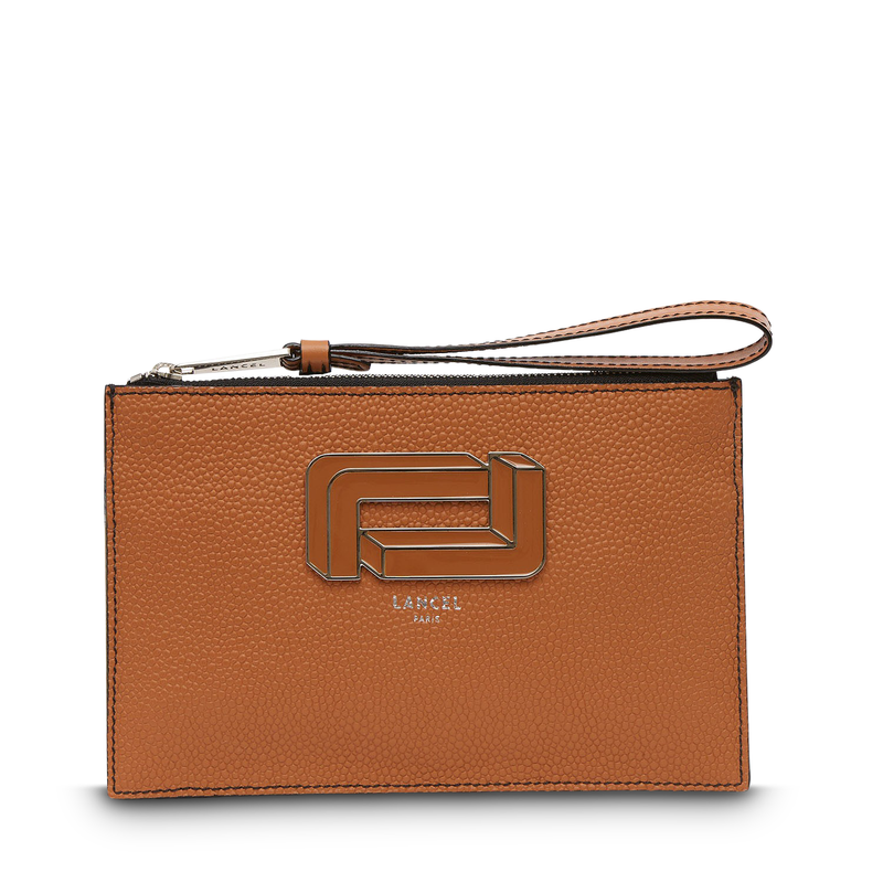 Zip Clutch - Camel