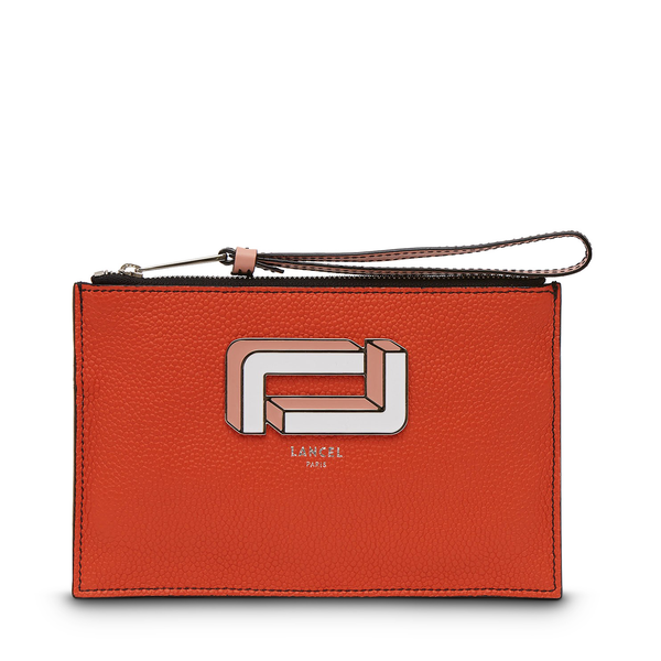 Zip Clutch - Papaya/Sunset Pink