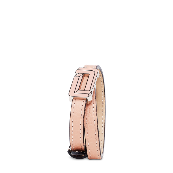 Mia Grained Leather Enamel  - Sunset Pink